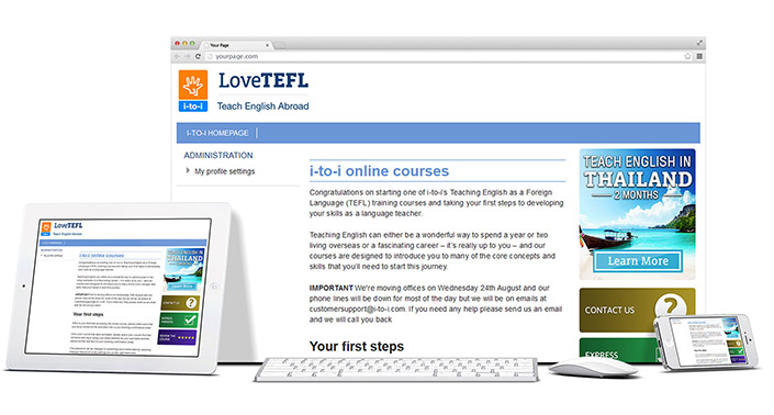Desktop, tablet and mobile examples of i-to-i website